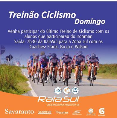 Treinão de ciclismo com os atletas que participarão do Iroman! Vamos?